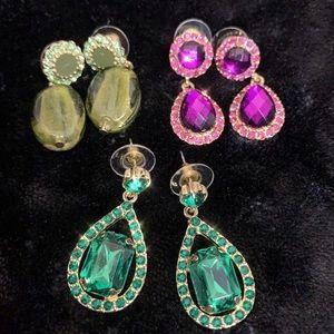 Jewelry - Lot of Earrings - Pink & Green Gems
